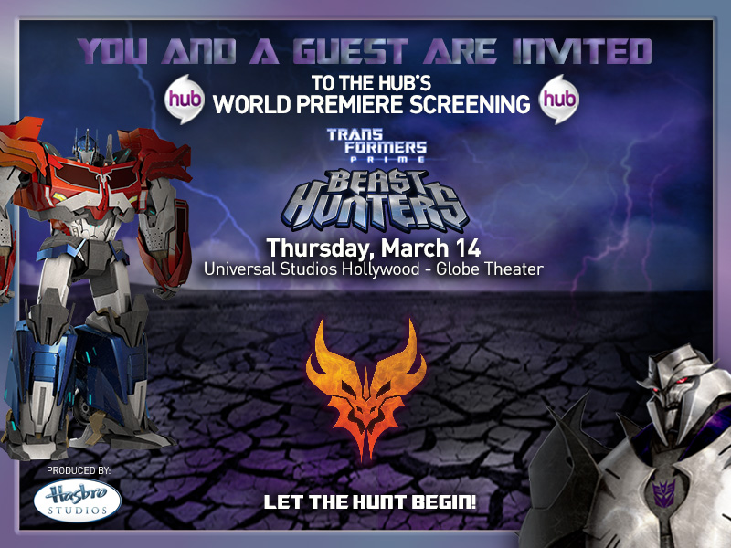 Hub TF Event MEDIAartwork no click here Transformers Prime Beast Hunters World Premiere Screening Ticket Giveaway   CLOSED